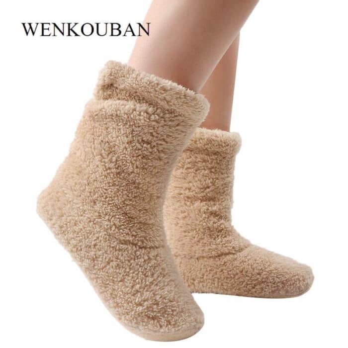 Home Slippers Women Coral Fleece Indoor Floor Shoes Warm Furry Slides Winter Indoor Sock Shoes Soft Slippers Chaussures Femme 5
