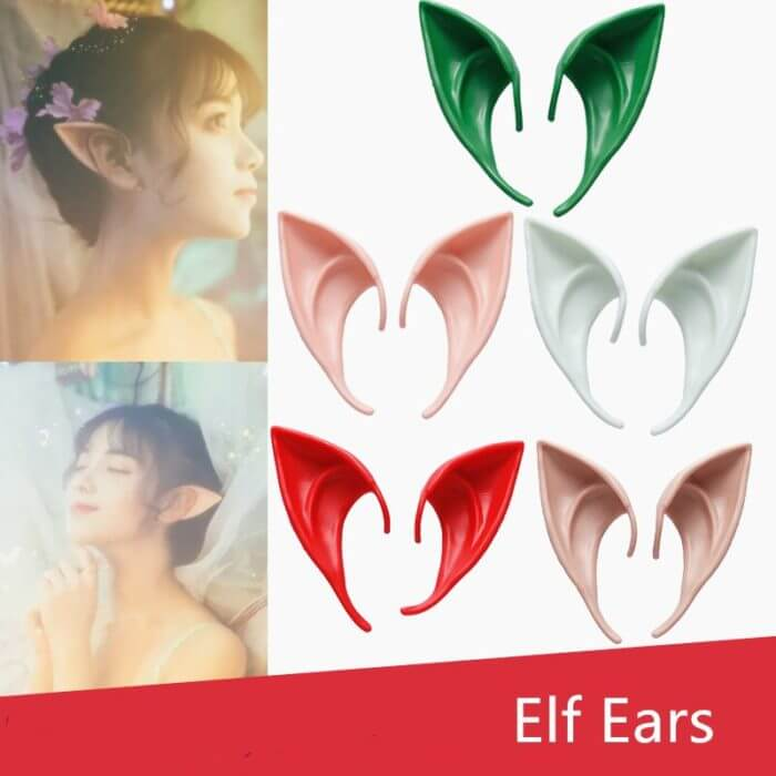 1 Pair Elf Ears fairy Cos Mask Cosplay Accessories Latex Soft Prosthetic False Ear Halloween Party Masks 6