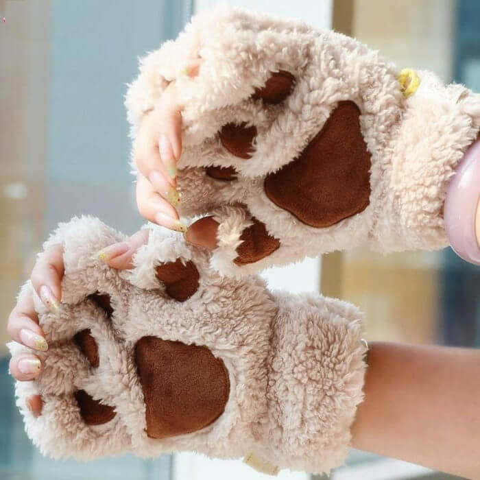 Women Cute Cat Claw Paw Plush Mittens Warm Soft Plush Short Fingerless Fluffy Bear Cat Gloves Costume Half Finger Black Beige 2