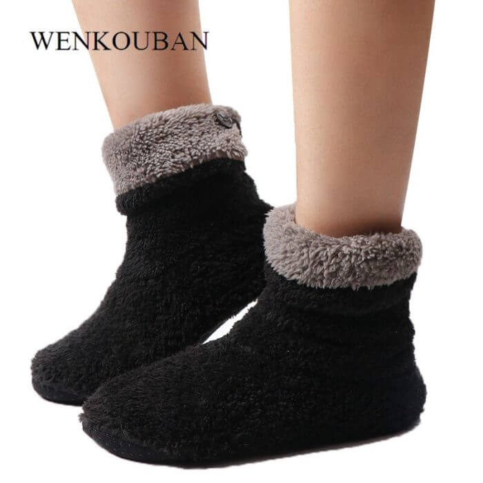 Home Slippers Women Coral Fleece Indoor Floor Shoes Warm Furry Slides Winter Indoor Sock Shoes Soft Slippers Chaussures Femme 3