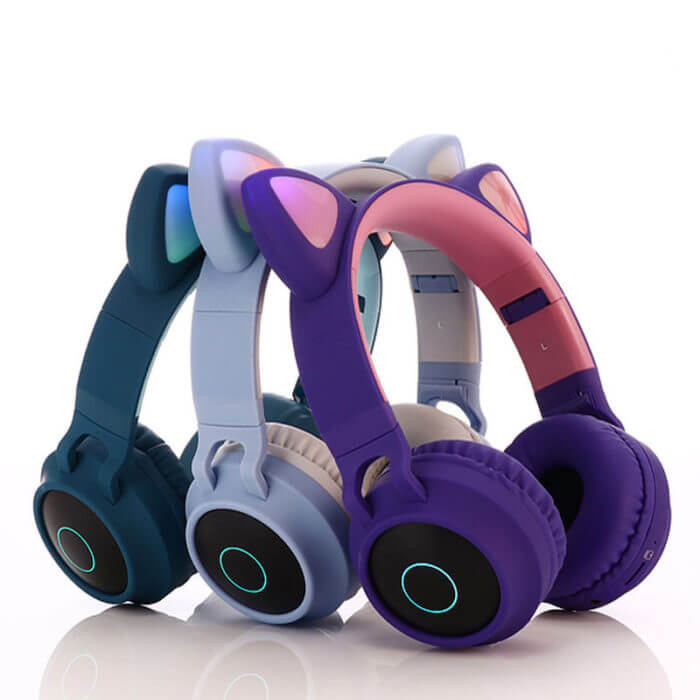 Cute Cat Bluetooth 5.0 Headset Wireless Hifi Music Stereo Bass Headphones LED Light Mobile Phones Girl Daughter Headset For PC 3