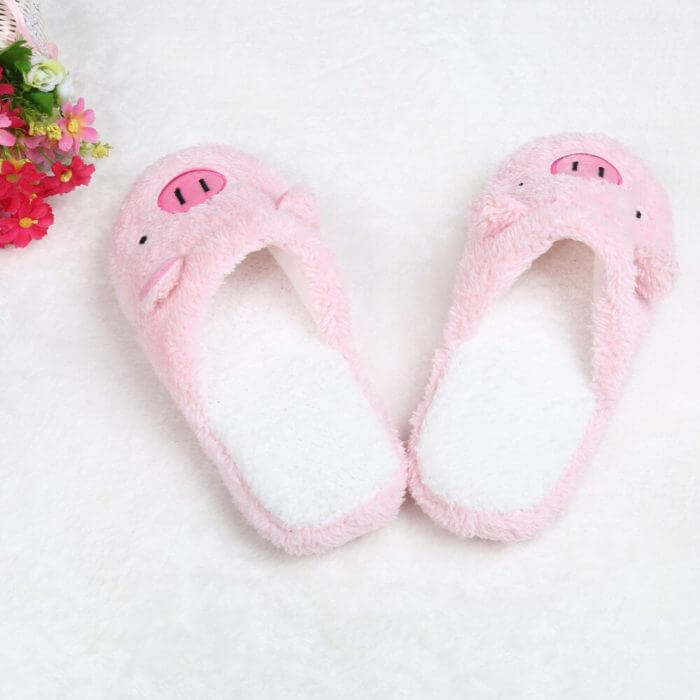 Winter household slippers pig shape slippers women slippers designer slippers home floor soft striped slippers women shoes @py 3