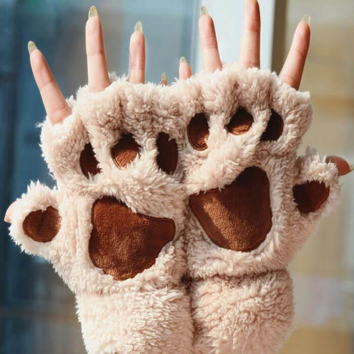 Women Cute Cat Claw Paw Plush Mittens Warm Soft Plush Short Fingerless Fluffy Bear Cat Gloves Costume Half Finger Black Beige 3