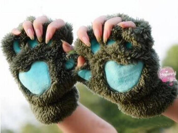 Women Cute Cat Claw Paw Plush Mittens Warm Soft Plush Short Fingerless Fluffy Bear Cat Gloves Costume Half Finger Black Beige 7