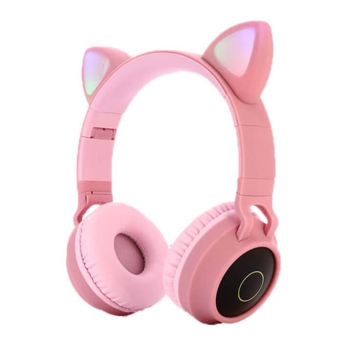 Cute Cat Bluetooth 5.0 Headset Wireless Hifi Music Stereo Bass Headphones LED Light Mobile Phones Girl Daughter Headset For PC 1