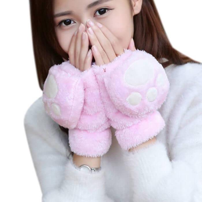 Women Girls Winter Thickened Plush Cute Cat Claw Bear Paw Flip Gloves Contrast Color Fingerless Convertible Mittens Wrist Warmer 5