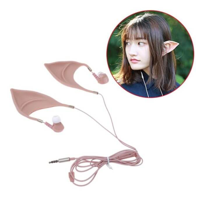 Low Bass In-ear Earphones Super Clear Elf with Mic Silicone Halloween Cosplay Wired Earphones fone de ouvido for phone Headset 1