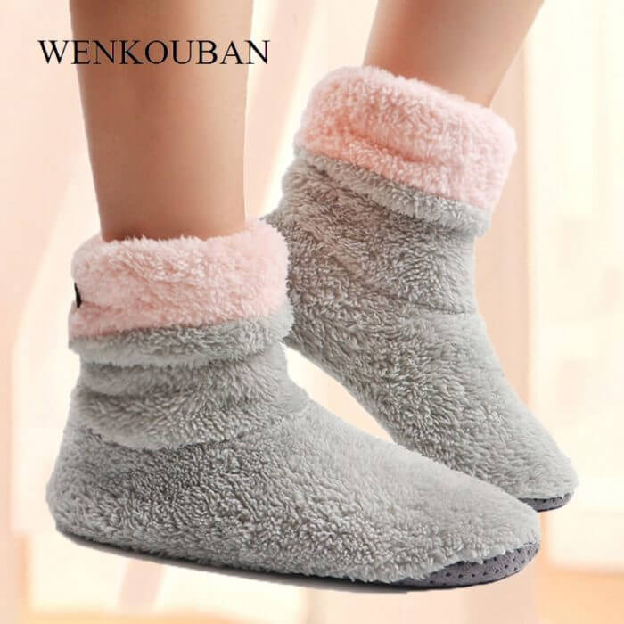 Home Slippers Women Coral Fleece Indoor Floor Shoes Warm Furry Slides Winter Indoor Sock Shoes Soft Slippers Chaussures Femme 1