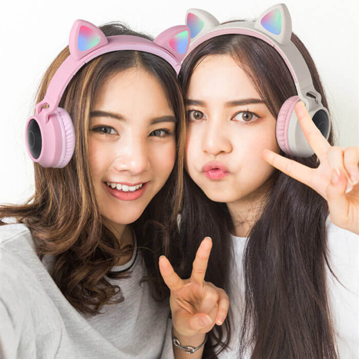 Cute Cat Bluetooth 5.0 Headset Wireless Hifi Music Stereo Bass Headphones LED Light Mobile Phones Girl Daughter Headset For PC 2