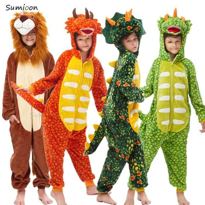 Kids Kigurumi Onesie Unicorn Pajamas For Children Animal Dinosaur Blanket Sleepers Baby Costume Winter Boy Girl Licorne Jumspuit 1