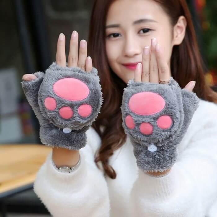 Women Girls Winter Thickened Plush Cute Cat Claw Bear Paw Flip Gloves Contrast Color Fingerless Convertible Mittens Wrist Warmer 3
