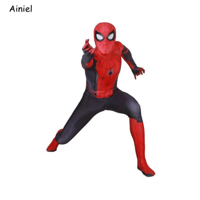 Adult Spider Suit Far From Home Peter Parker Cosplay Costume Mask Zentai Spiderman Superhero Jumpsuits Halloween Man Kids 4