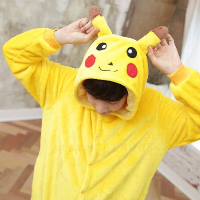 Kigurumi Unicorn Pajama Adult Animal Pikachu Onesie Women Men Couple 2019 Winter Pajamas Suit Stitch Sleepwear Flannel Pijamas 3