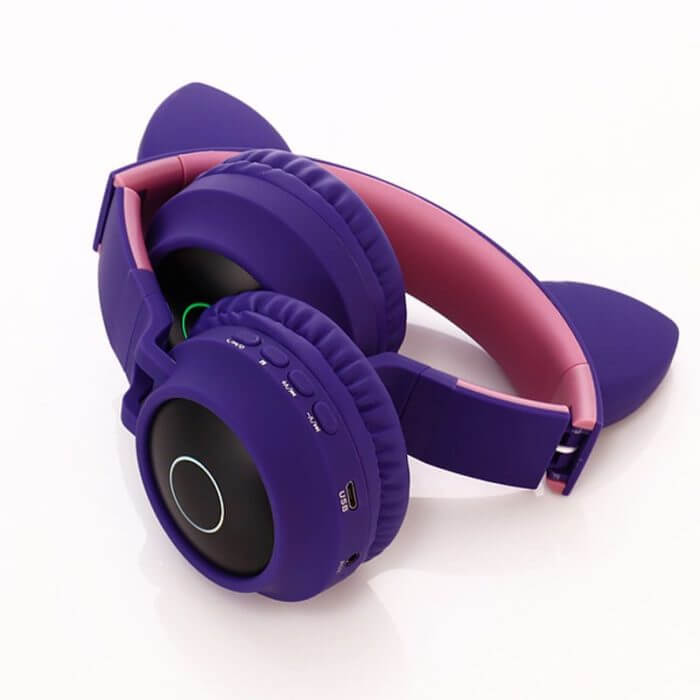 Cute Cat Bluetooth 5.0 Headset Wireless Hifi Music Stereo Bass Headphones LED Light Mobile Phones Girl Daughter Headset For PC 5
