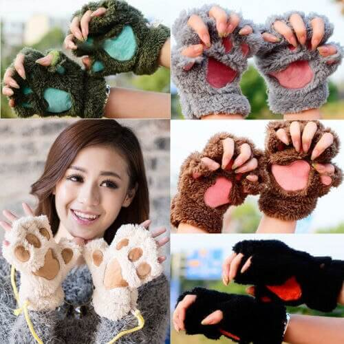 Women Cute Cat Claw Paw Plush Mittens Warm Soft Plush Short Fingerless Fluffy Bear Cat Gloves Costume Half Finger Black Beige 6