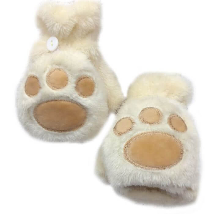 Women Girls Winter Thickened Plush Cute Cat Claw Bear Paw Flip Gloves Contrast Color Fingerless Convertible Mittens Wrist Warmer 6