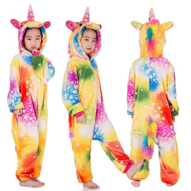 Kigurumi Pajamas Panda Children Girls Unicorn Pajama Boys Stitch Oneises Pijamas Unicornio for 4 6 8 10 12Years Stitch Costume 4