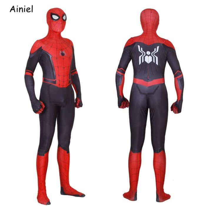 Adult Spider Suit Far From Home Peter Parker Cosplay Costume Mask Zentai Spiderman Superhero Jumpsuits Halloween Man Kids 1