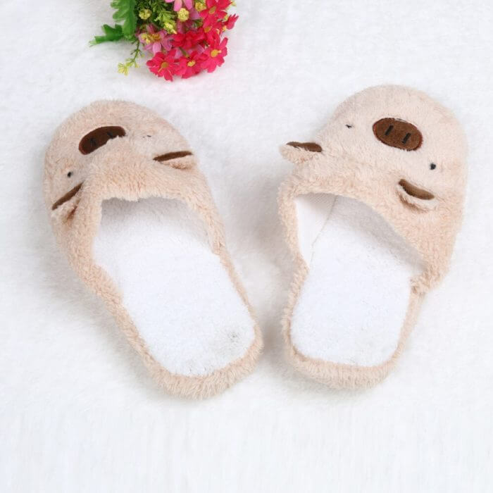 Winter household slippers pig shape slippers women slippers designer slippers home floor soft striped slippers women shoes @py 6