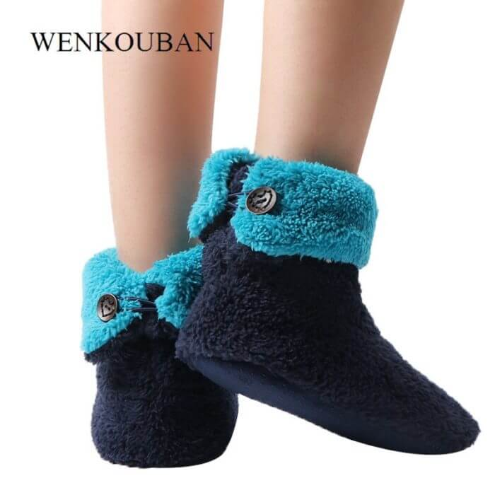 Home Slippers Women Coral Fleece Indoor Floor Shoes Warm Furry Slides Winter Indoor Sock Shoes Soft Slippers Chaussures Femme 4