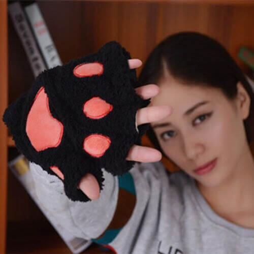 Women Cute Cat Claw Paw Plush Mittens Warm Soft Plush Short Fingerless Fluffy Bear Cat Gloves Costume Half Finger Black Beige 5