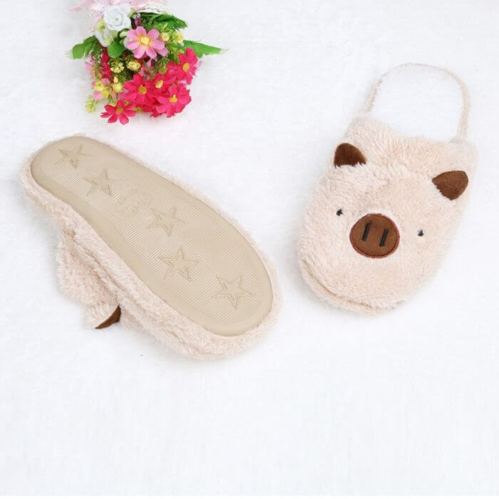 Winter household slippers pig shape slippers women slippers designer slippers home floor soft striped slippers women shoes @py 5