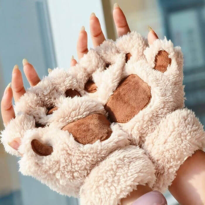 Women Cute Cat Claw Paw Plush Mittens Warm Soft Plush Short Fingerless Fluffy Bear Cat Gloves Costume Half Finger Black Beige 1