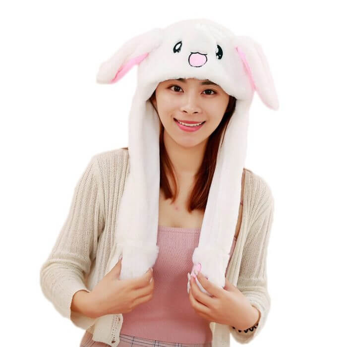 2020 New Cartoon Hats Moving Ears Cute Rabbit Toy Hat Airbag Kawaii Funny Hat for Girls Cap Kids Plush Toy Christmas Gift 4