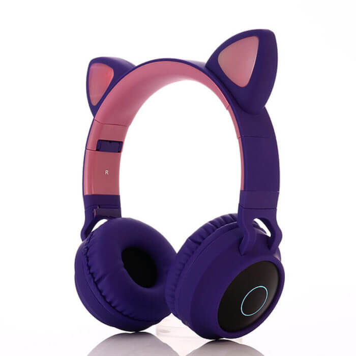 Cute Cat Bluetooth 5.0 Headset Wireless Hifi Music Stereo Bass Headphones LED Light Mobile Phones Girl Daughter Headset For PC 4