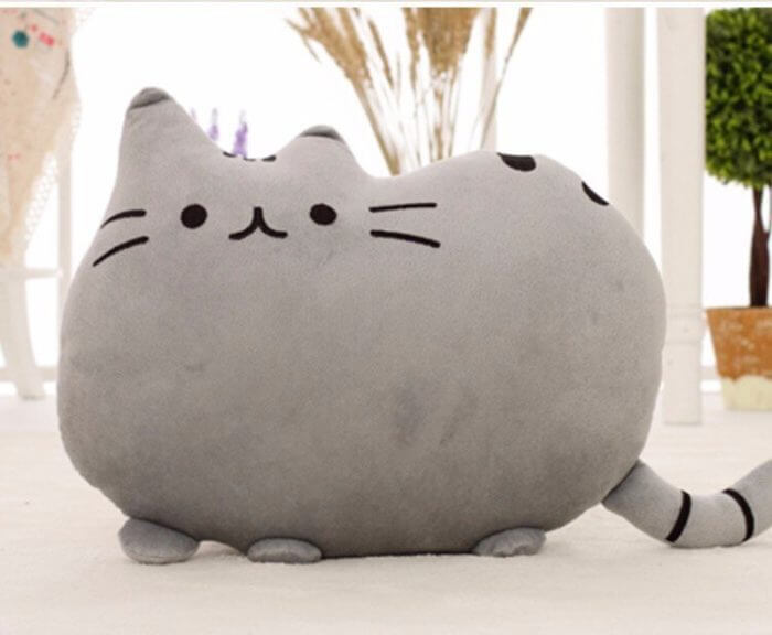 40*30cm Kawaii Cat Pillow With Zipper Only Skin Without PP Cotton Biscuits Plush Animal Doll Toys Big Cushion Cover Peluche Gift 2