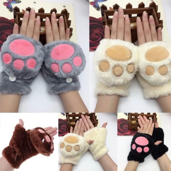 Women Girls Winter Thickened Plush Cute Cat Claw Bear Paw Flip Gloves Contrast Color Fingerless Convertible Mittens Wrist Warmer 2