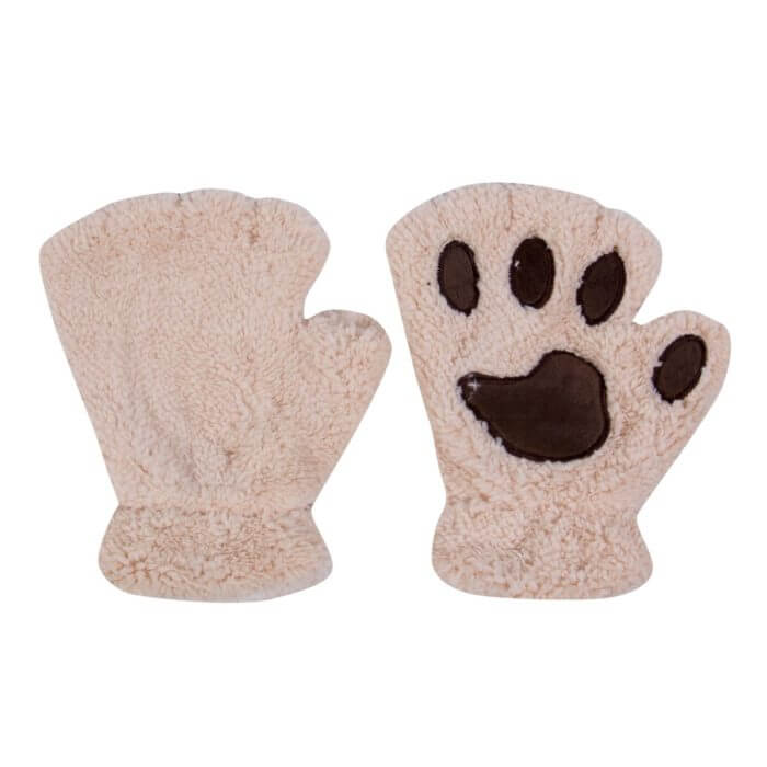 Women Cute Cat Claw Paw Plush Mittens Warm Soft Plush Short Fingerless Fluffy Bear Cat Gloves Costume Half Finger Black Beige 4