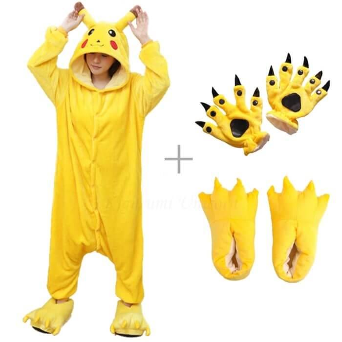 Kigurumi Unicorn Pajama Adult Animal Pikachu Onesie Women Men Couple 2019 Winter Pajamas Suit Stitch Sleepwear Flannel Pijamas 1