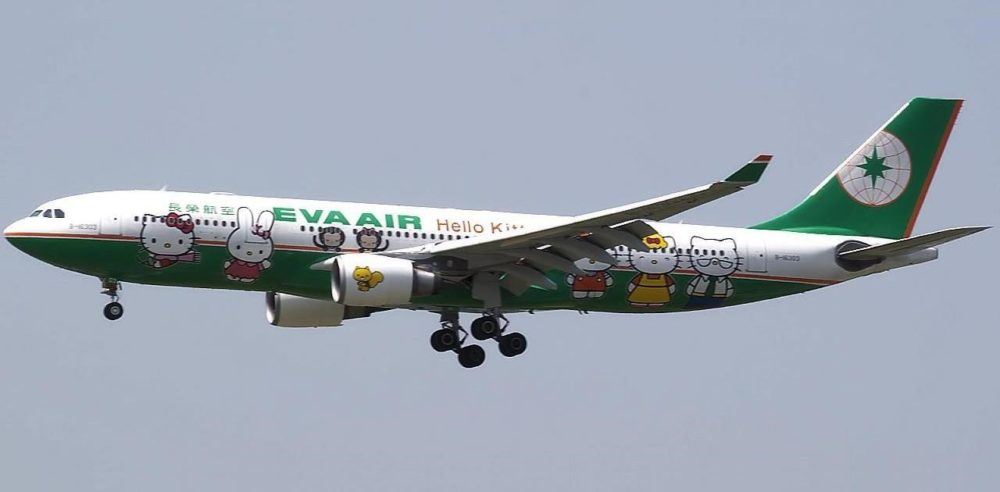 A Taiwanese Eva Air Airbus A330 Jet (headed for Japan) supporting Hello Kitty artwork