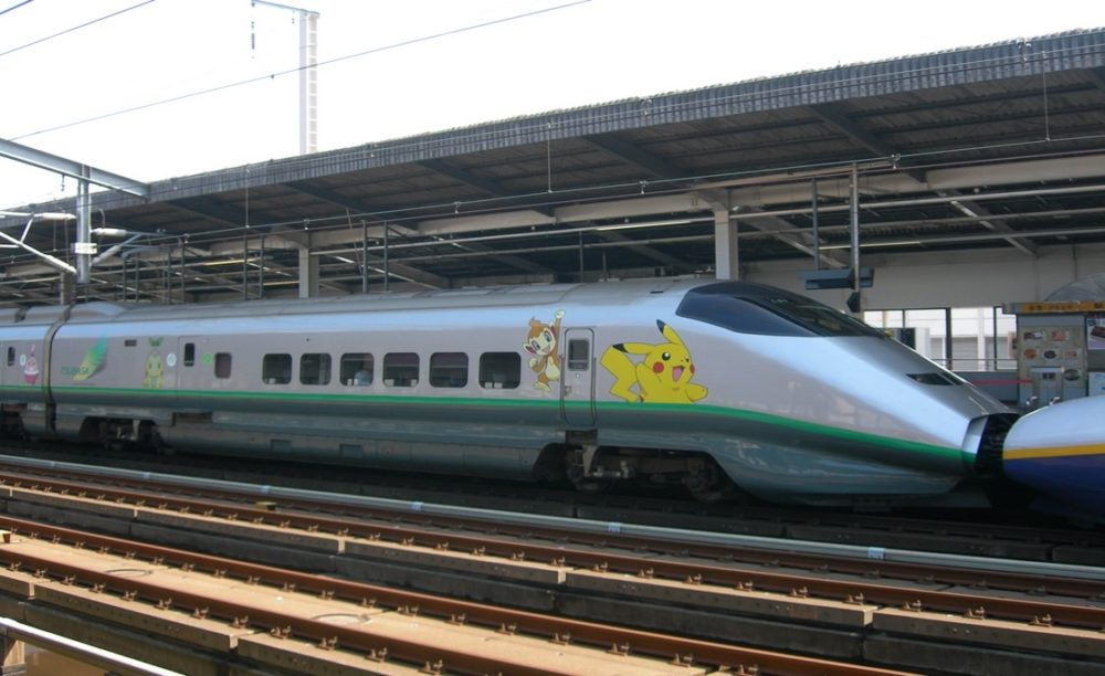 A Tokyo high-speed train with Pokémon Branding