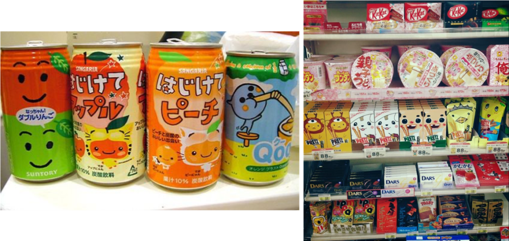 Kawaii elements being used on various food items