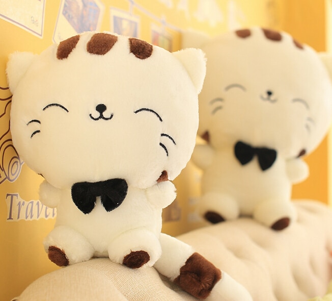 20CM Cute Kawaii Cat with Bow Plush Dolls Toys Gift Stuffed Soft Doll Cushion Sofa Pillow Gifts Xmas Gift Party Decor 4