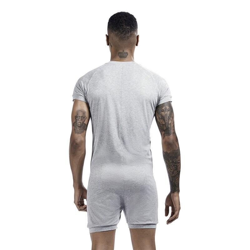 Men's Siamese Pajamas Onesies Home Clothes Super-elastic Comfortable Snap Button Jumpsuit Men Sleepwear Solid Color T-Shirts 2