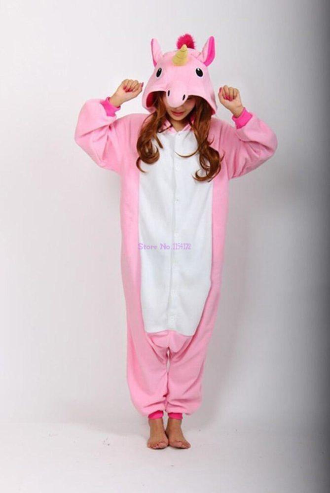 Adults Animal Pajamas Sets Cartoon Sleepwear Unicorn Onesies Stitch Kigurumi Unicornio Women Men Warm Flannel Hooded 7