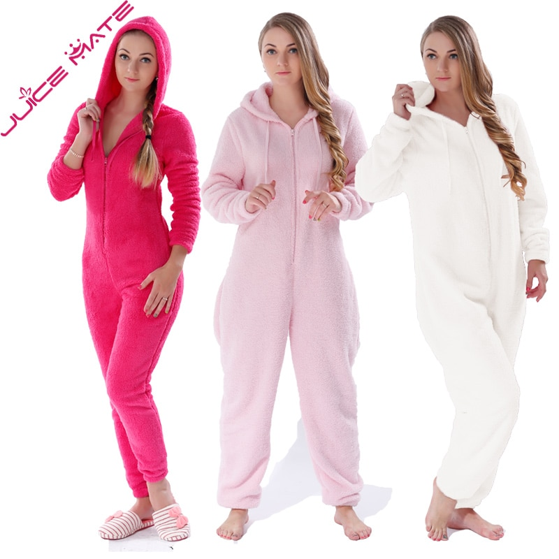 Winter Warm Pyjamas Women Onesies Fluffy Fleece Jumpsuits Sleepwear Overall Plus Size Hood Sets Pajamas Onesie For Women Adult 1