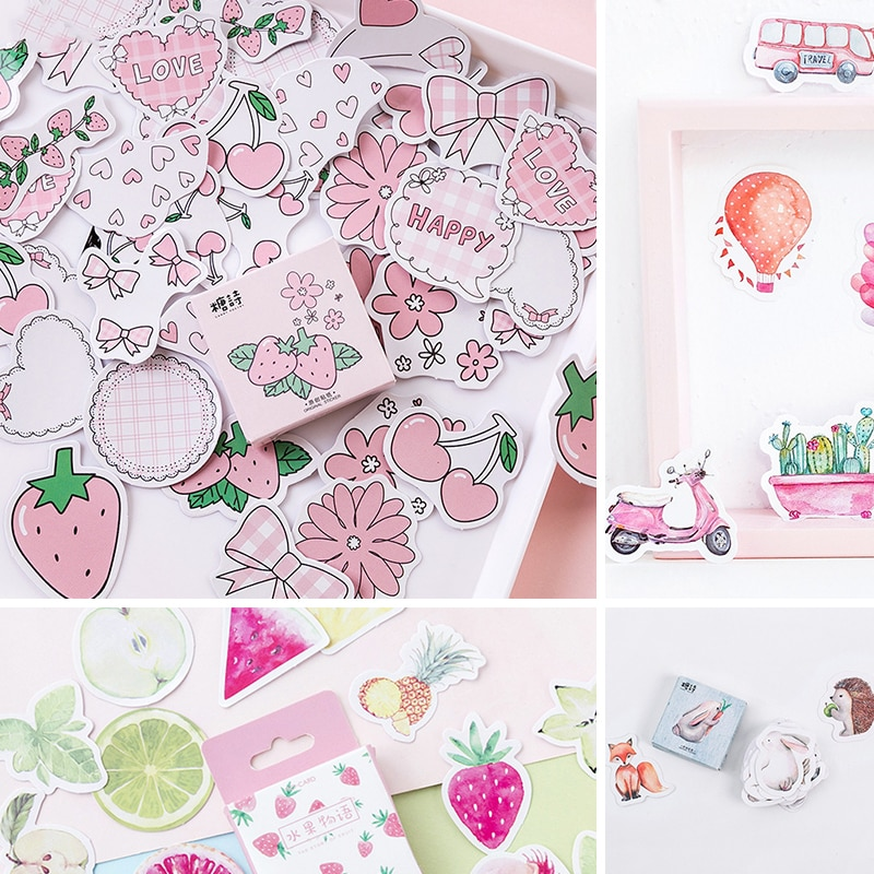 45 pcs/Box Various Stickers Cute Kawaii Planner Journal Diary  Scrapbooking Paper Stickers Stationery 1