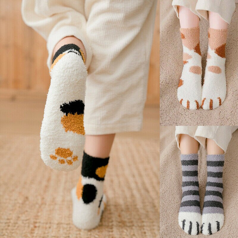 SVOKOR Cotton Socks Winter Funny Print Cat Paw Warm Socks Kawaii Cute Casual Happy Fashion Designer Socks For Men Women 3