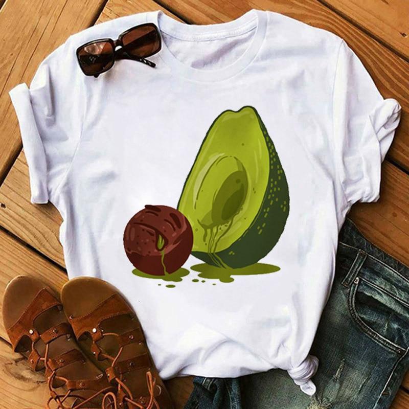 Kawaii Cartoon Avocado Short Sleeve T-shirt Women Casual Avocado Graphic Tops Female Tee Summer Women T-shirts Tops 2