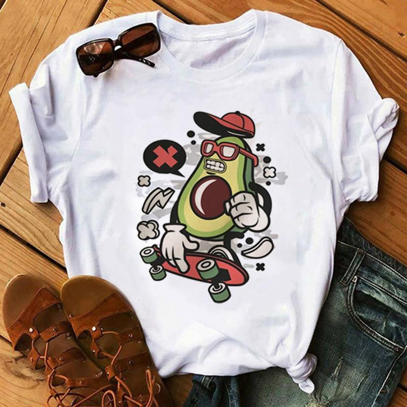 Kawaii Cartoon Avocado Short Sleeve T-shirt Women Casual Avocado Graphic Tops Female Tee Summer Women T-shirts Tops 3