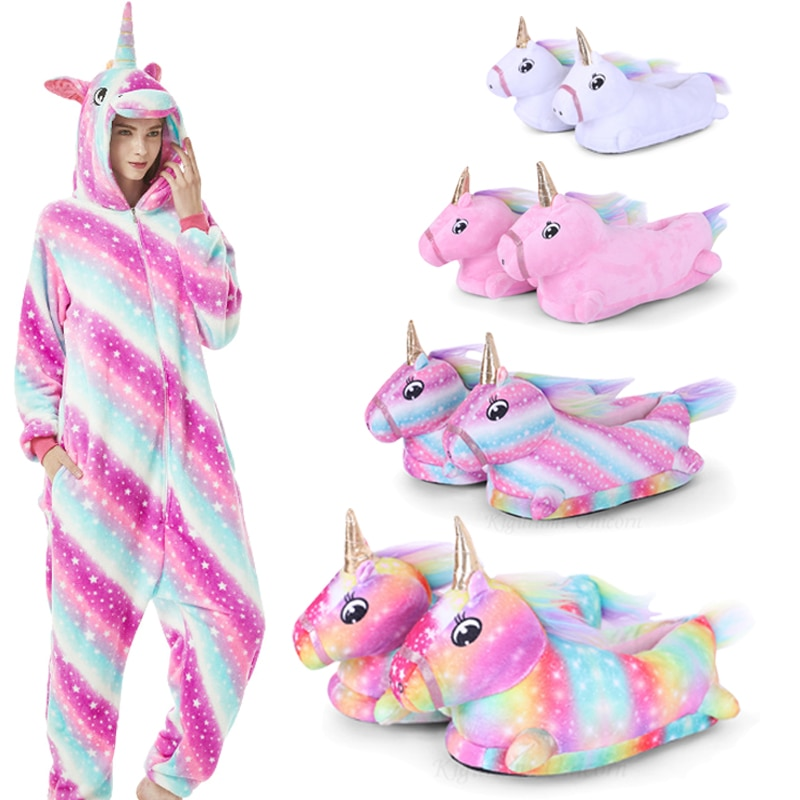 Kigurumi Unicorn Pajamas For Adults Cat Costume Kids Pijamas For Women Anime Animal Onesie Men Sleepwear Flannel Shoes Winter 1