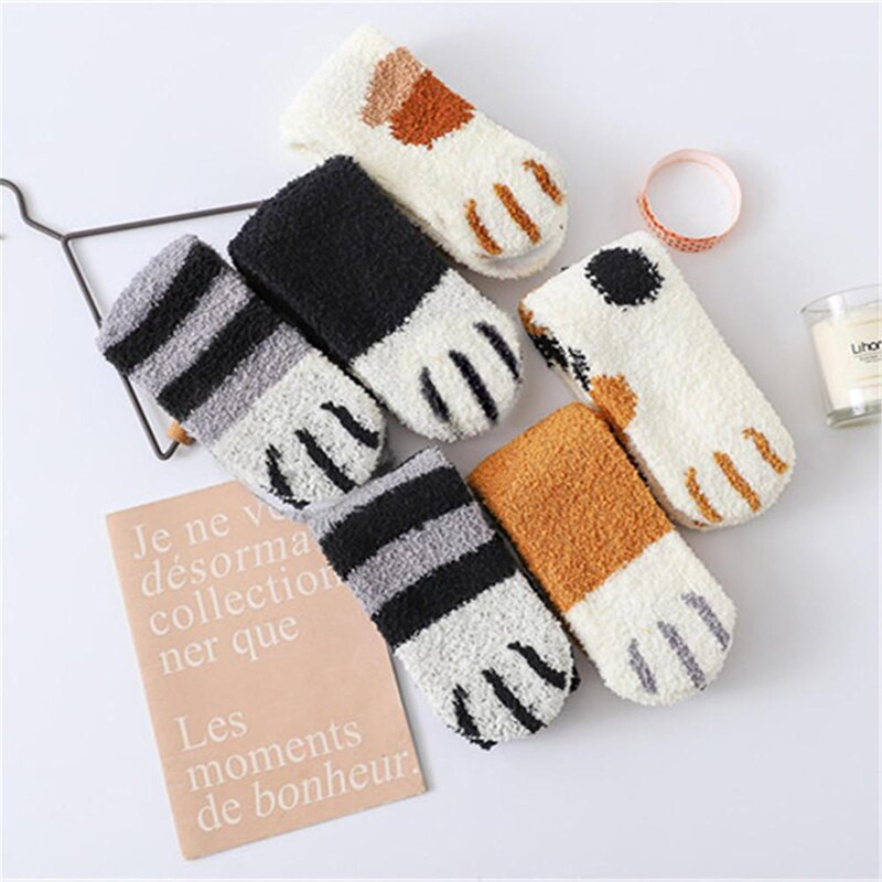 SVOKOR Cotton Socks Winter Funny Print Cat Paw Warm Socks Kawaii Cute Casual Happy Fashion Designer Socks For Men Women 5