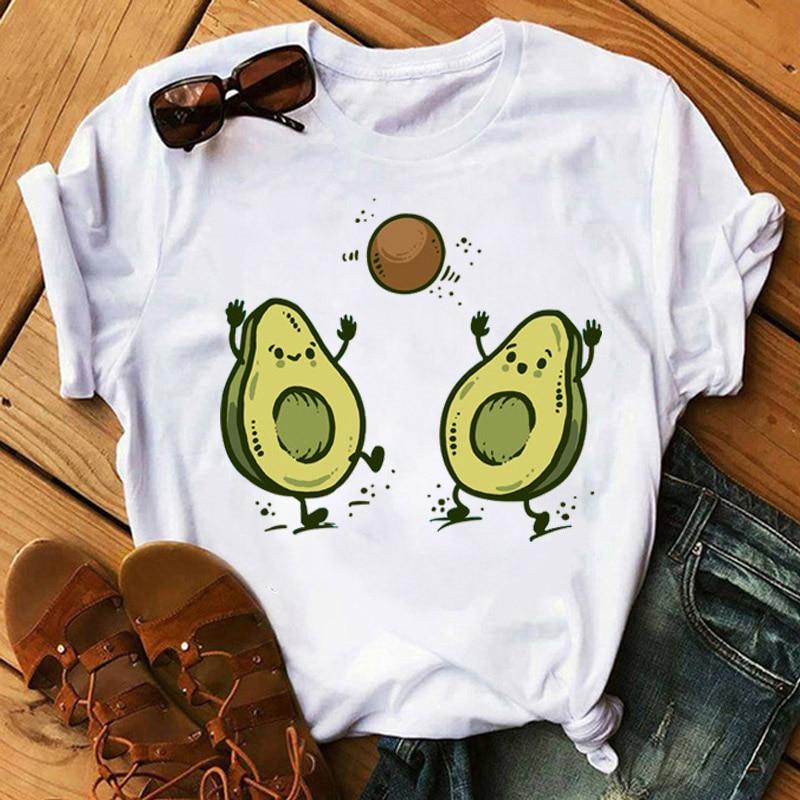 Kawaii Cartoon Avocado Short Sleeve T-shirt Women Casual Avocado Graphic Tops Female Tee Summer Women T-shirts Tops 5