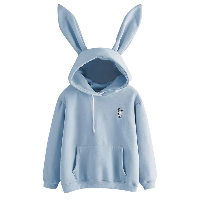 QRWR 2020 Autumn Winter Women Hoodies Kawaii Rabbit Ears Fashion Hoody Casual Solid Color Warm Sweatshirt Hoodies For Women 3