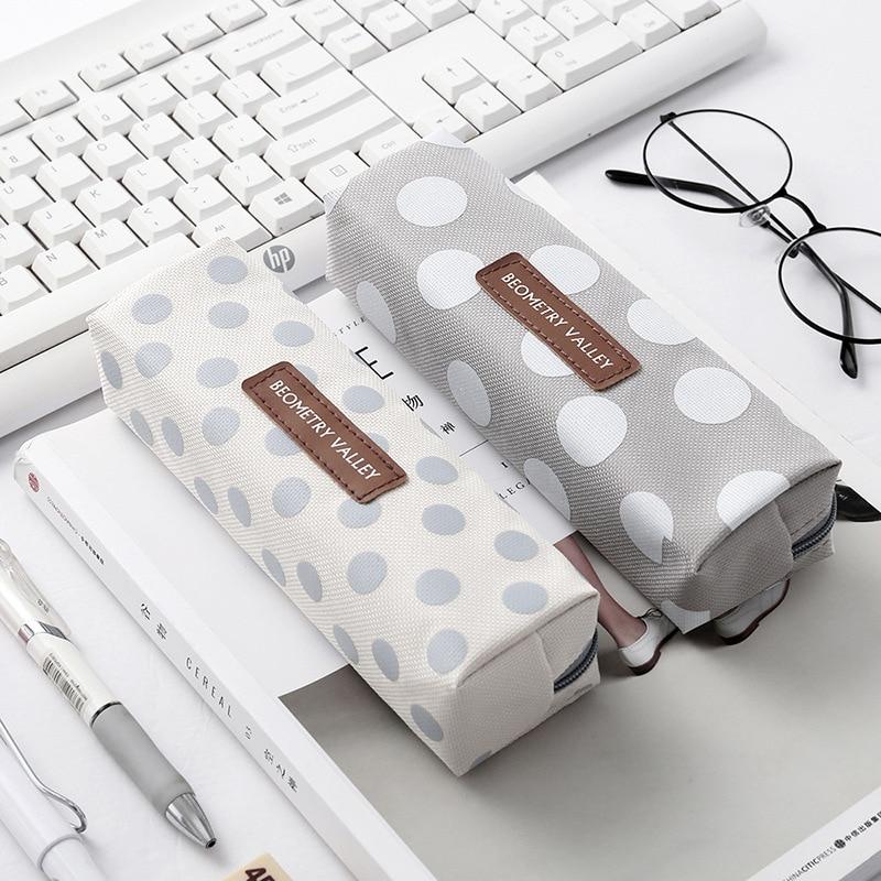 Cute Kawaii Canvas Pencil Case High Capacity Pen Bags Cute Letter Pencil Bags For Girls Gift School Supplies Korean Stationery 3