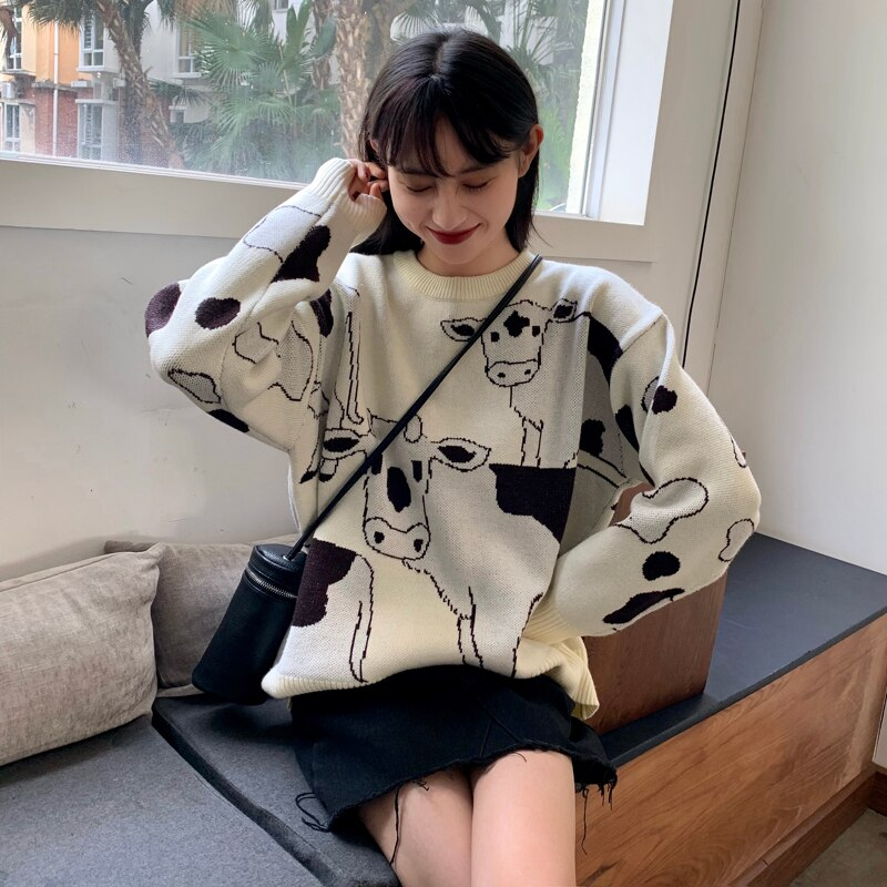 Vintage Casual Loose Lazy Cow Sweater Female Korean Harajuku Women's Sweaters Japanese Kawaii Cute Ulzzang Clothing For Women 3